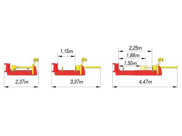 Réglage hydraulique de la poutre suivant la longueur des pieux (4 positions : 1,15m / 1,50 m / 1,85 m et 2,25)